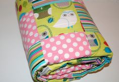 "Baby Girl Patchwork Crib Sized, Toddler Bed 34""X 52"" Quilt, Robert Kaufman Critter Community Owls with SuPEr SoFT Minky. $135.00, via Etsy."
