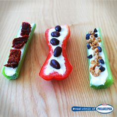 Try one of these twists on the classic snack, Ants on a Log! On the left: sun-dried tomatoes over Philly. In the middle: a red bell pepper instead of celery topped with black beans. And lastly, on the right: celery, Philly, granola, and mini chocolate chips. Your kids will thank you!