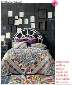 bohemian bedroom. cool. maybe add one dark purple wall instead of a black wall...