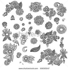 Set of black flower design - stock vector