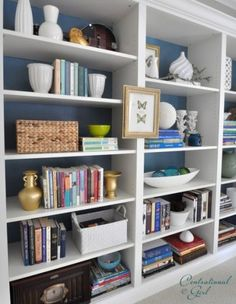 Great ideas for organizing book shelves...
