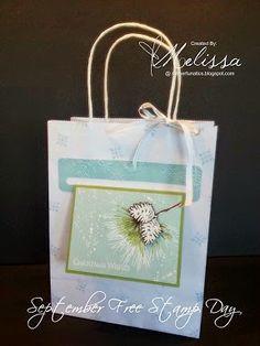 Stampin' Up! Ornamental Pine gift bag & card holder- By Melissa Davies @ rubberfunatics