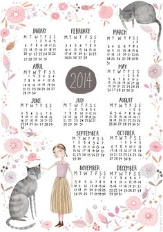 filofax 2014, calendar printabl, prints, 2014 calendar, design, illustr calendar, julianna swaney