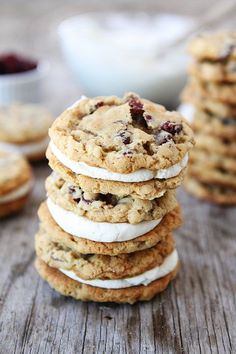 Oatmeal Cranberry Sandwich Cookies with White Chocolate Creme Filling