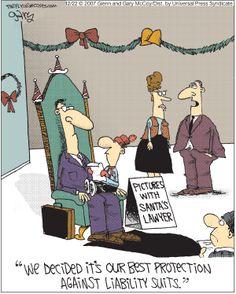 "Christmas Humor: ""Pictures with Santa's Lawyer."" The Flying McCoys by Glenn and Gary McCoy  ~ Christmas Humor"