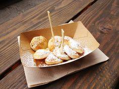 Dutch poffertjes (small, fluffy pancakes) with powdered sugar