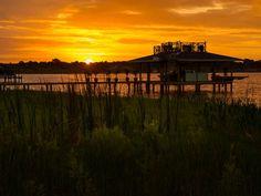Blog Cabin's Dock at Sunrise