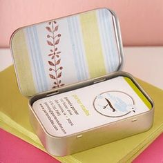 Business Card Holder: Using an empty mint container. Cover the outside and inside of the lid with decorative paper and fill it with your business cards. Embellish a second container to store the cards you receive. This would also be perfect for a traveling sewing kit or to store band-aids!