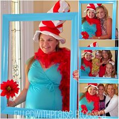 Dr. Seuss theme baby shower ideas, theme parties, hat party, photo booths, dr suess, picture frames, parti idea, babi shower, baby showers