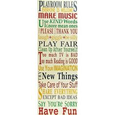 Multi Color Playroom Rules Vertical Plaque hous decor, hobby lobby, kid playroom, color playroom, hobbi lobbi, playroom rule, playroom art, laney playroom, hobbies