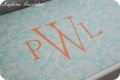 to how make your own monogram stencil and paint it onto fabric