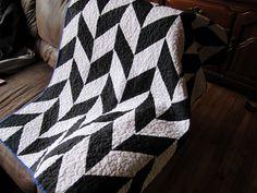 modern herringbone black and white quilt.