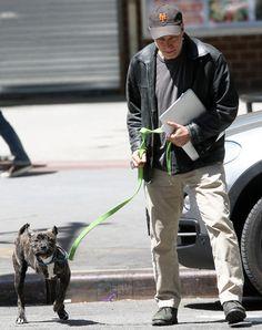 Jon Stewart and his 3-legged pit bull, Champ.