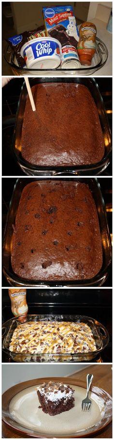 Better Than Sex Cake cook, better than sex cake, heath bar cake, cakes, food, bake, recip, ice box desserts, butterfinger cake