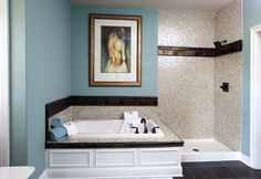 Schumacher Homes: Floorplans - Beverly II Series  Love the color of the bathroom and the glass tiles