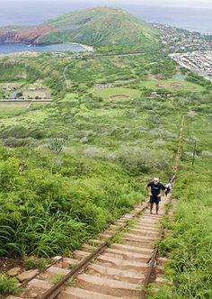 Koko Head climb near Hanauma Bay in Hawaii Kai, Oahu, Hawaii
