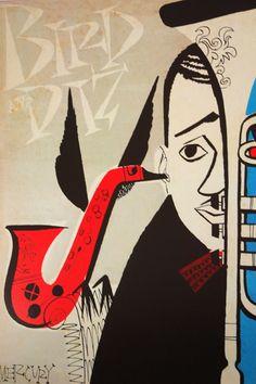 "detail from Charlie Parker & Dizzy Gillespie ""Diz Bird"" LP cover"