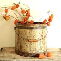 wooden bucket with Japanese lanterns