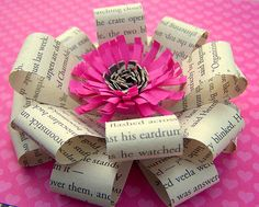 bow tutorial, gift bows, gift wrapping, paper bows, homemade bows, paper flowers, holiday gifts, make bows, old books