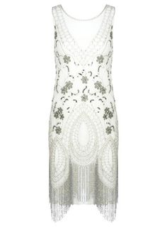 Cremefarbenes Kleid im 20er-Jahre-Stil