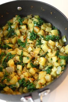 Stove Top Potato and Kale Side Dish - next time I'll tear the kale into smaller pieces so they mix in with the potatoes better.