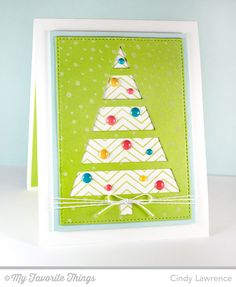 Fine Chevron Background, Merry Messages, Snowfall Background, Christmas Tree Cutout Die-namics, Stitched Rectangle STAX Die-namics - Cindy Lawrence #mftstamps