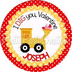 VALENTINE TRUCK 3 or 2 inch favor tags  U by PrettyPartyCreations, $6.25