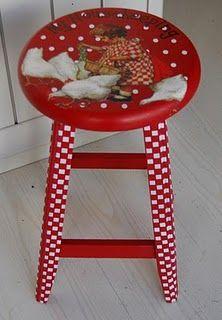 red, kitchen stools, seat, paint furnitur, bar stools