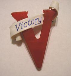 "Red Bakelite  ""V for Victory"" brooch"
