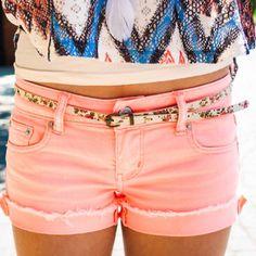 Coral shorts, aztec top, skinny belt...
