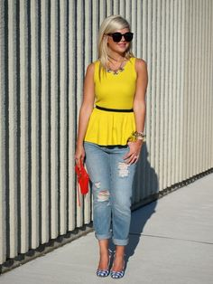 Suburban Faux-Pas: Joe Fresh peplum top!---- awww to cute and cute hair color too