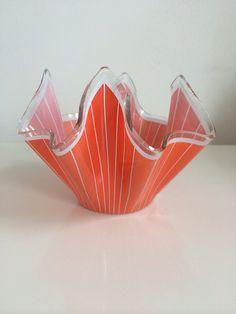 1961 Chance Glass handkerchief Vase in Orange. on Etsy, £15.00