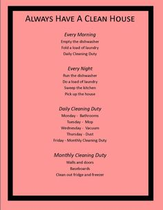 cleaning lists, clean list, organ, dream, cleaning schedules, clean hous