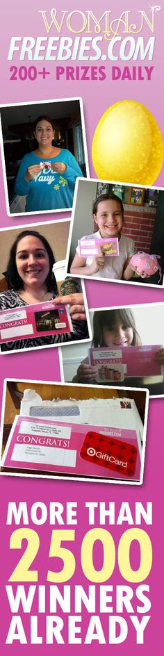 Lots of great winner photos pouring in! If you want to win a gift card (or even an iPad3) join our egg hunt! It runs until April 8th. http://womanfreebies.com/sweepstakes/the-ultimate-egg-hunters-guide/