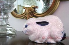 Vintage Indigo Blue and White Porcelain Bunny Rabbit Hand Painted and Signed Chinoiserie