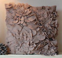 Felt Roses Pillow Cover