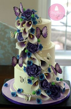 Picasso Calla Lilies, Purple Roses & Butterflies Cascade with link to butterfly and rose tutorial lily cupcakes, butterfli cake, rose cake, cake art, butterfli cascad, princess cakes, calla lili, blue roses, birthday cakes