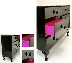 black/pink dresser