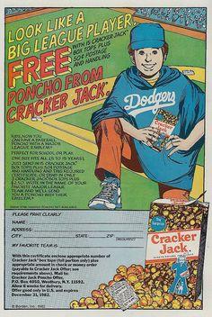 Cracker Jack Dodgers baseball ad, 1983 by kerrytoonz,