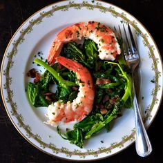 Tender pea shoots are natural partners for rich-tasting shrimp and bacon.