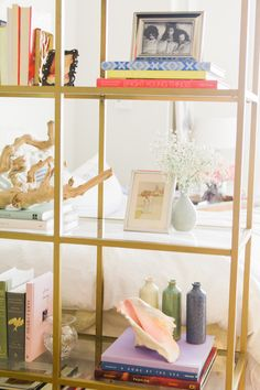 Ikea shelves painted gold; Style At Home: Kilee Hughes | theglitterguide.com