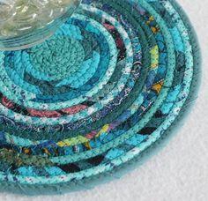 Teal Bohemian Round Coiled Mat / Mug Rug / by PrairieThreads, $12.00