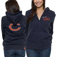 Chicago Bears Ladies Game Day Full Zip Hoodie - Navy Blue
