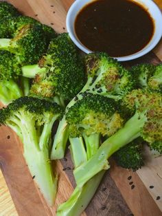 Roasted Broccoli with Hoisin Dipping Sauce