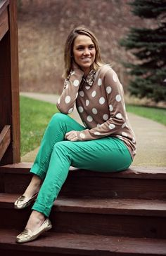 Preppy chic with a splash of color. As worn by @Melissa Brown Damon