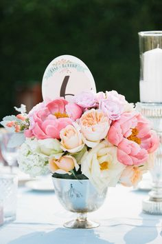 peony and rose centerpieces