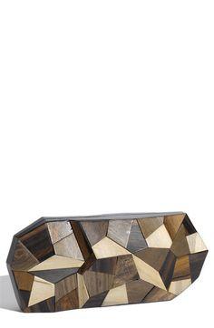 wooden patchwork clutch