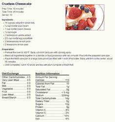 - * Diabetic Recipes - Crustless Cheesecake * -