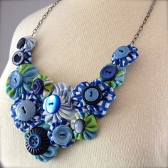 Blue Gingham Yo Yo Necklace