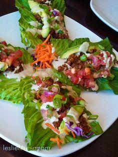 Vegan raw lettuce leaf tacos.